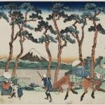Hodogaya on the Tokaido, approx. 1830–1831, from the series Thirty-Six Views of Mount Fuji, by Katsushika Hokusai (Japanese, 1760–1849). Woodblock print; ink and color on paper. Museum of Fine Arts, Boston, William Sturgis Bigelow Collection, 11.17541. Photograph © 2015, MFA, Boston.