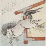 Painted horse escaping from votive plaque, 1834, by Totoya Hokkei (Japanese, 1780–1850). Woodblock print; ink and color on paper. Museum of Fine Arts, Boston, William Sturgis Bigelow Collection, 11.25469. Photograph © 2015, MFA, Boston.