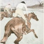 The jockey, 1899, by Henri de Toulouse Lautrec (French, 1864–1901). Lithograph; color on paper. Museum of Fine Arts, Boston, Fund in memory of Horatio Greenough Curtis, 24.1704. Photograph © 2015, MFA, Boston.